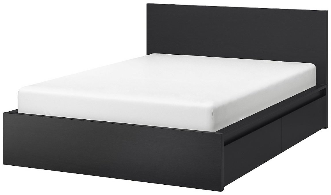 MALM High Bed Frame/4 Storage Boxes, Black-brown/LuröyQueen