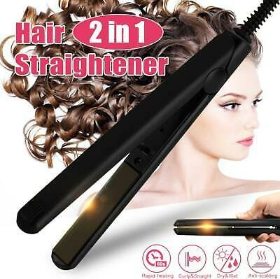 2 IN 1 Professional Steam Flat Hair Straightener & Hair Curler Curling Iron
