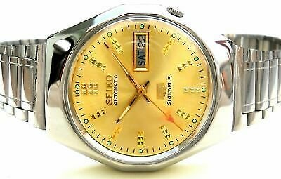 Vintage Japan Seiko 5 Automatic Golden Classic Day Date Mens Watch...
