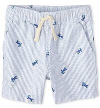 Baby And Toddler Boys Striped And Iguana Print Oxford Pull On Jogger Shorts