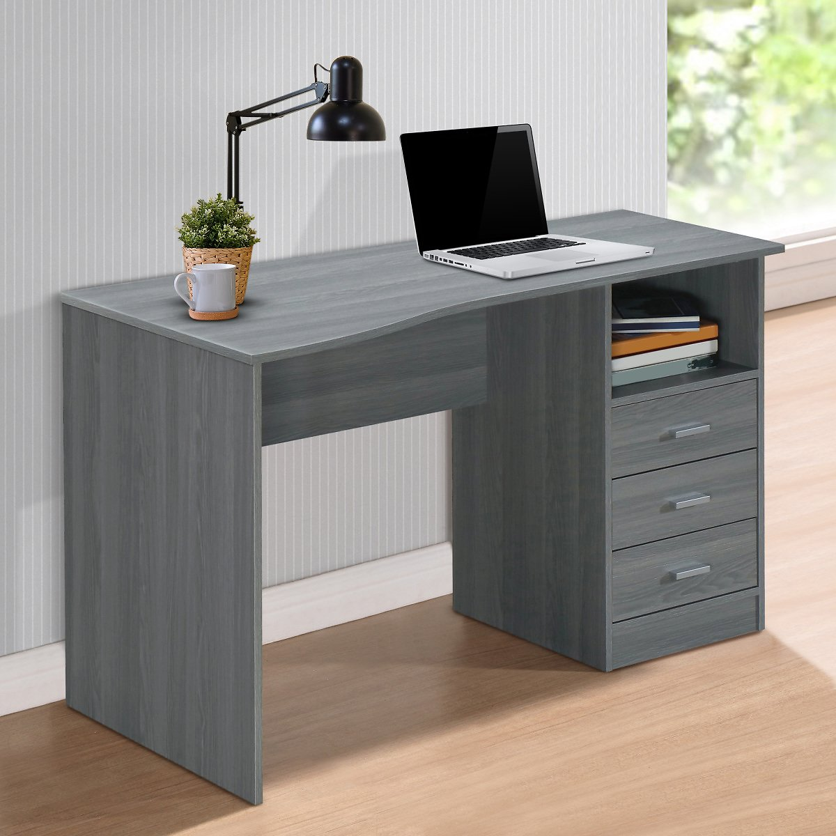 Techni Mobili Classic Computer Desk with Drawers, Grey