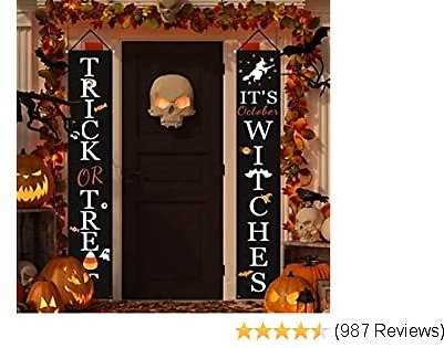 Dazonge Halloween Decorations Outdoor   Trick or Treat & It's October Witches Halloween Signs for Front Door or Indoor Home Decor   Porch Decorations   Halloween Welcome Signs