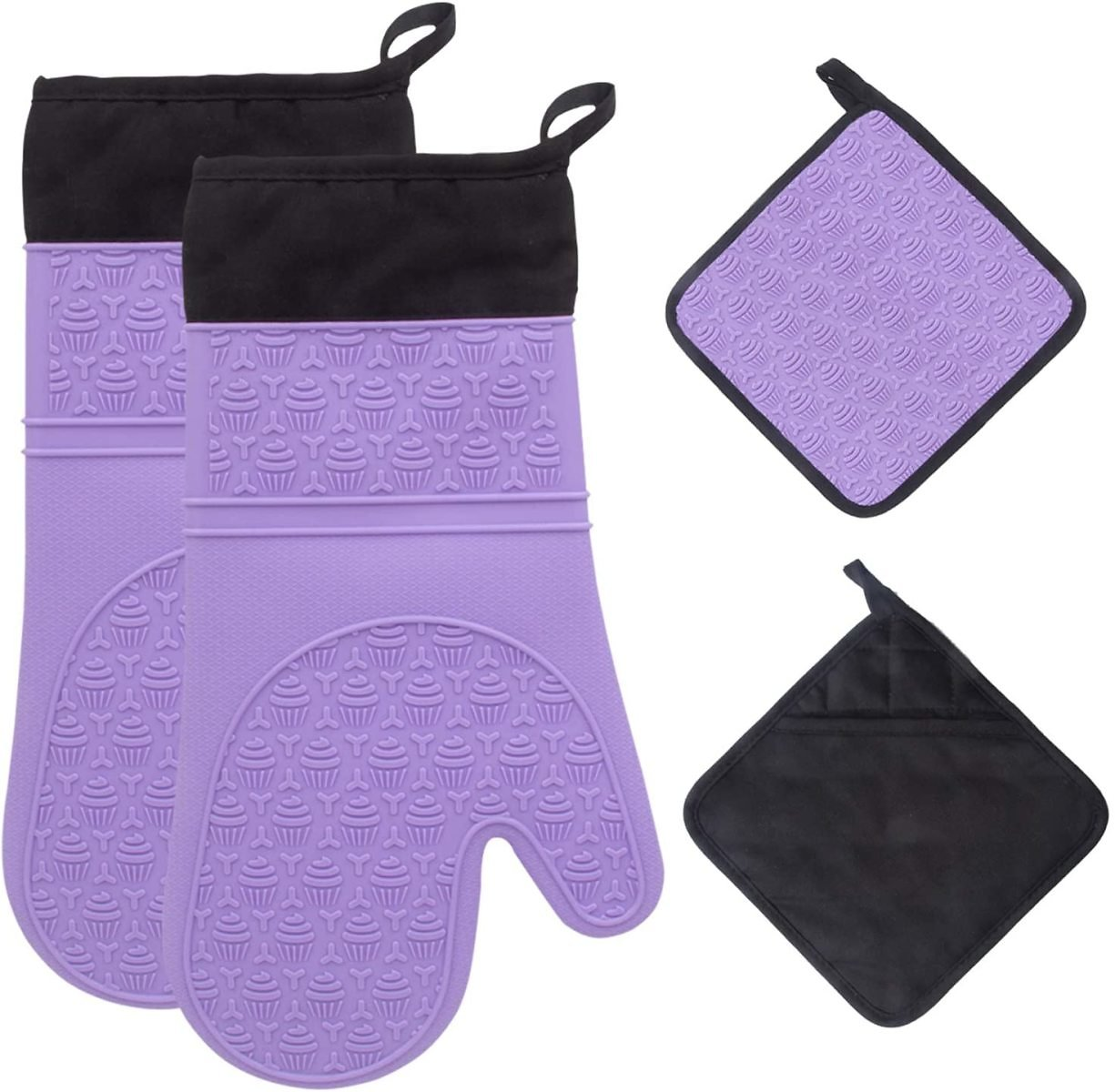 Silicone Oven Mitts and Pot Holders Set 500 F Heat Resistant Oven Gloves Flexible for Kitchen Cooking