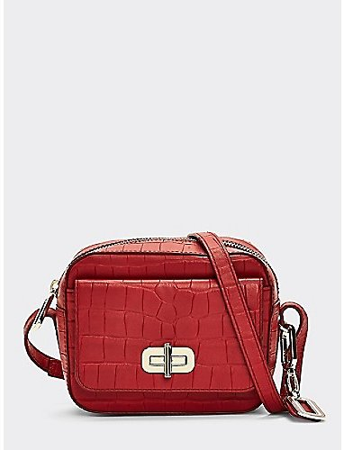 Croc-Embossed Leather Crossover (2 Colors) | Tommy Hilfiger