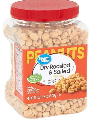 Great Value Dry Roasted & Salted with Sea Salt Peanuts, 34.5 Oz.