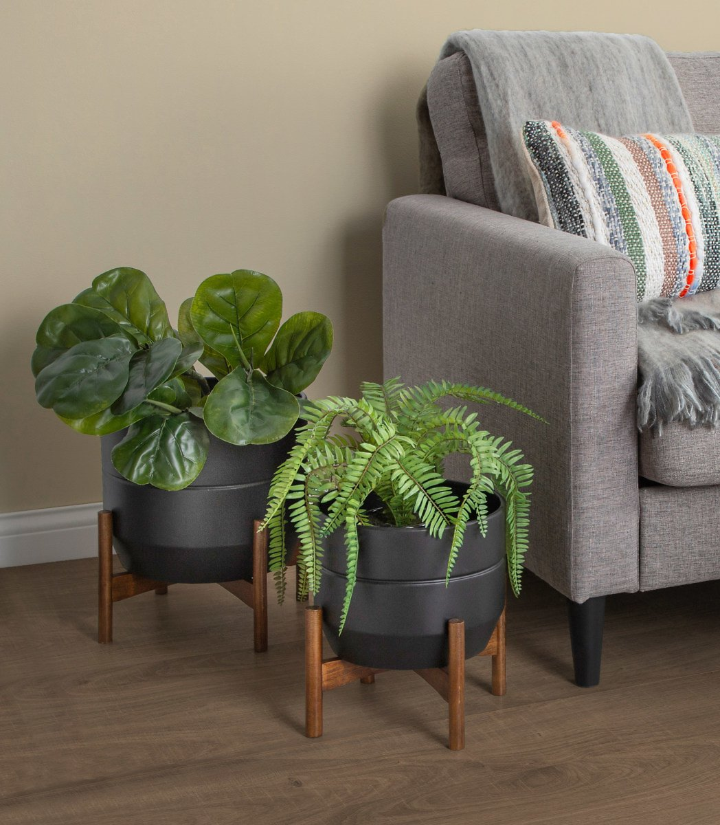 Kate and Laurel Dolbry Mid-Century Modern Metal Planters, Set of 2, Black with Walnut Brown Base, Modern Freestanding Pots