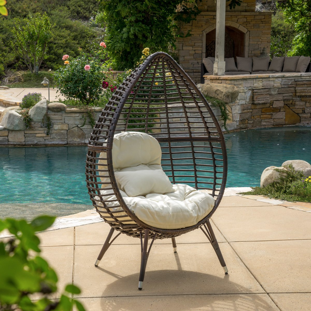 Melton Teardrop Wicker Lounge Chair with Cushion, Multibrown and Beige