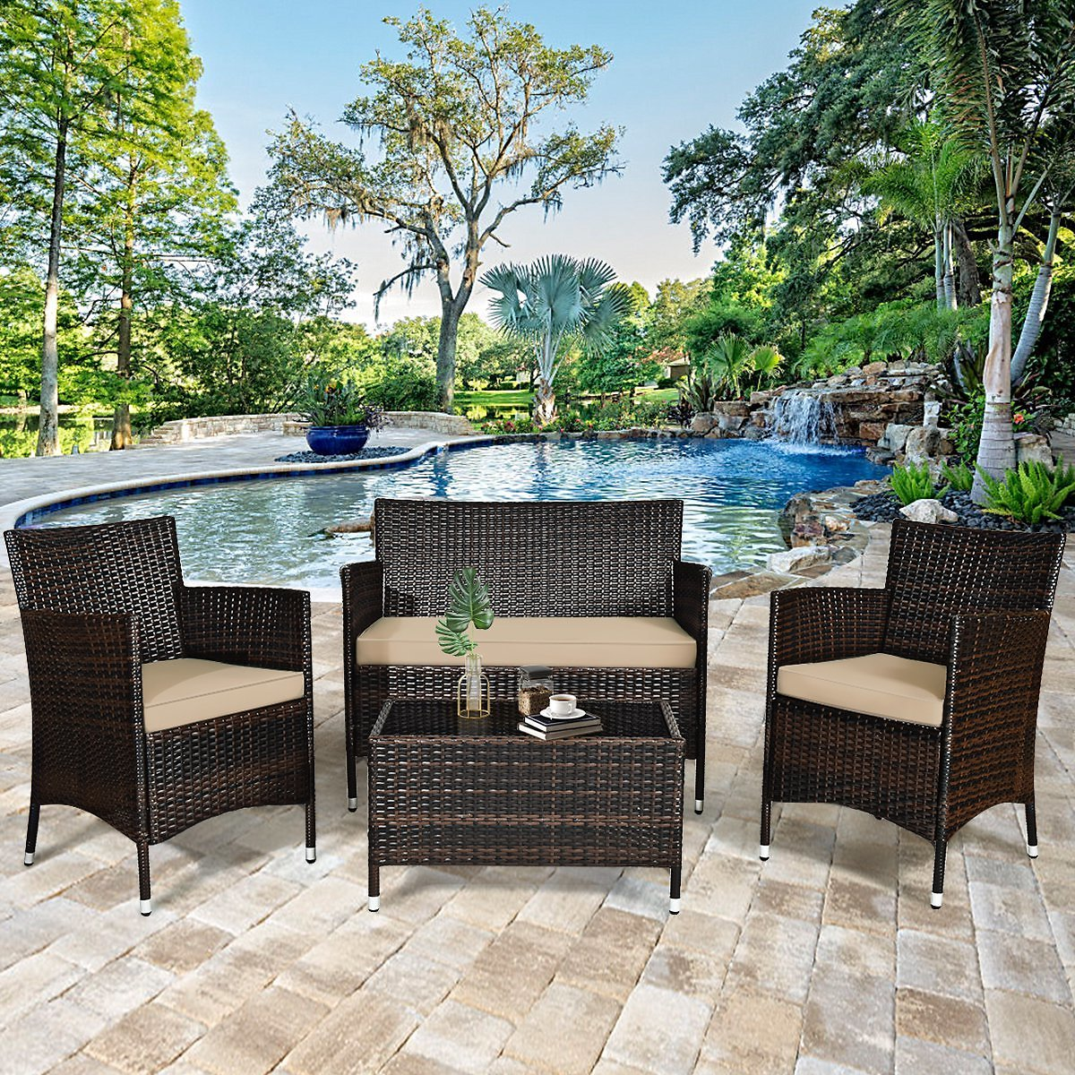 Gymax 4PCS Patio Rattan Outdoor Furniture Set w/ Cushioned Chair Loveseat Table