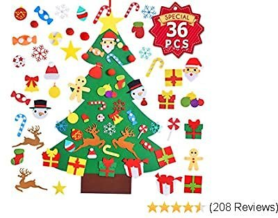 Max Fun 37 X 27 Inch Children's Felt Christmas Tree Set 3.2ft with 36PCS Ornaments DIY Home Decoration Wall Hanging Children's Felt Craft Kits for Christmas, New Year, Various Festivals