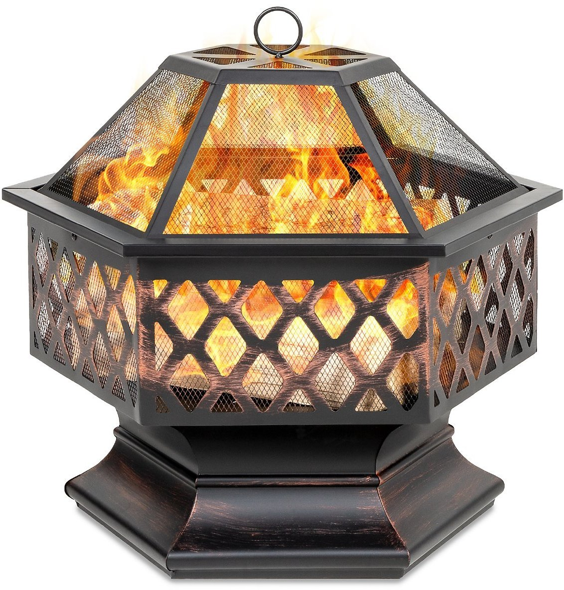Hex-Shaped Outdoor Fire Pit w/ Flame-Retardant Lid (24in)