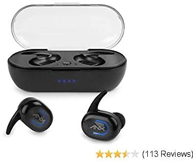 Aduro AX50 True Wireless Bluetooth Earbuds Headphones 5.0, Non-Slip Grip Earphones, One-Touch Control Button, Built-in Mic with Charging Case - Black
