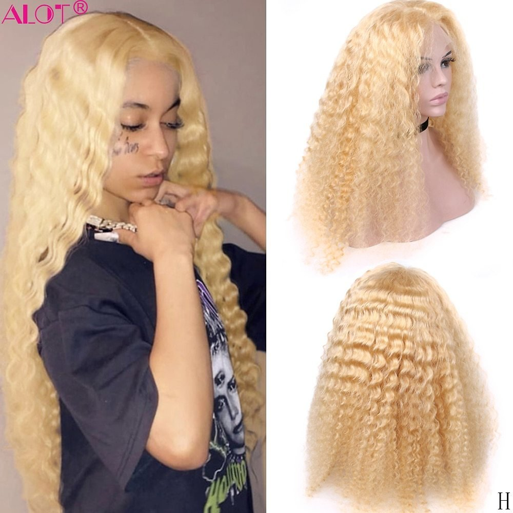 Blonde Lace Front Human Hair Wigs Middle Part 13x1 Remy Glueless Brazilian Deep Wave 613 Blonde Lace Part Wig 150% Pre Plucked
