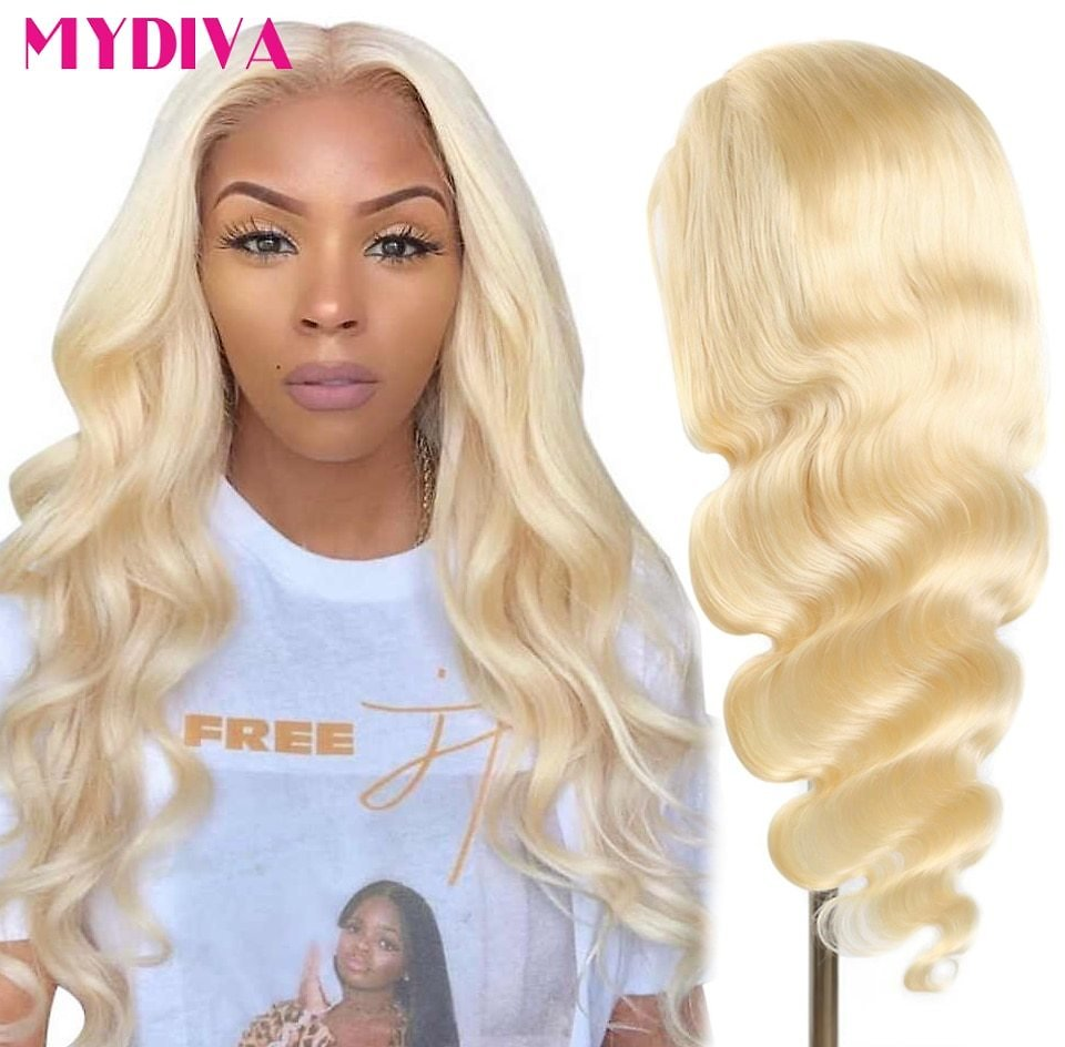 Lace Front Wigs Pre Plucked 150% Deep Part 13x1 Remy Brazilian Body Wave 613 Blonde Lace Front Human Hair Wigs Middle Part