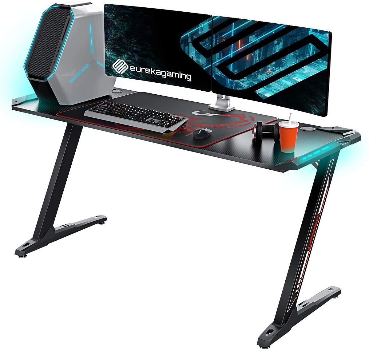 Z Shaped Large PC Computer Gaming Desks Tables with RGB LED Lights Controller Stand and Mouse Pad