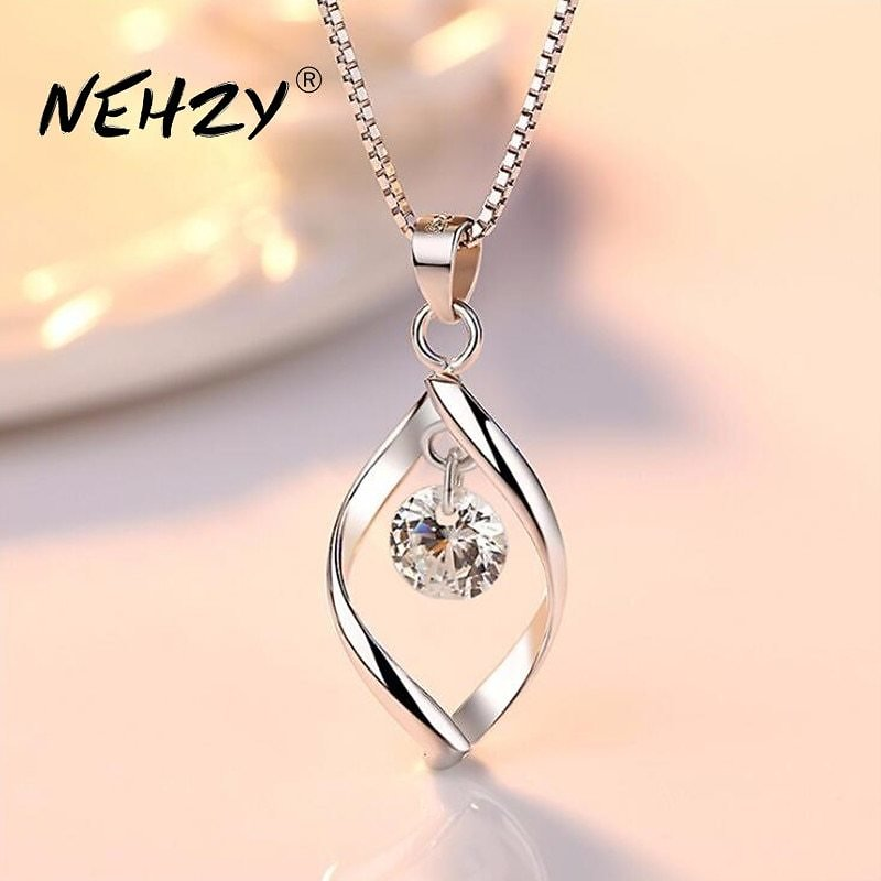 US $3.4 |NEHZY 925 Sterling Silver Women's Fashion New Jewelry High Quality Crystal Zircon Retro Simple Pendant Necklace Long 45CM|Pendants| - AliExpress