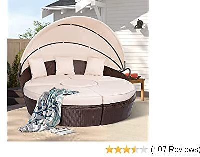 AECOJOY Patio Furniture Outdoor Round Daybed with Retractable Canopy and Washable Cushions Separated Seating Sectional Sofa for Patio Lawn Garden Backyard Porch Pool