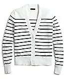 Striped V-neck Cotton Cardigan Sweater