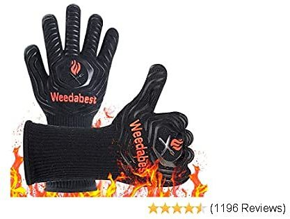 SUMPRO Hot BBQ Gloves Heat Resistant Kitchen Oven Mitts Professional Long Heat Resistant Cooking Gloves for Grill,Grilling,Smoker,Barbeque,13.5 Inch-Black