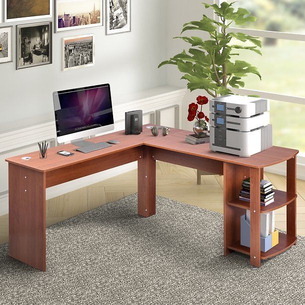 Merax L-Shaped Computer Desk with Side Storage,Light Brown