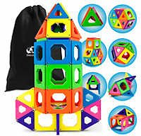 Discovery Kids 50-Piece Magnetic Building Tiles Construction Set with Storage Bag