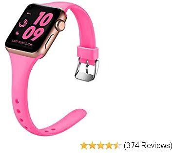 Laffav Slim Band Compatible with Apple Watch 40mm 38mm for Women Waterproof Durable Soft Silicone Sport Replacement Strap Compatible with Apple Watch SE & Series 6 & Series 5 4 3 2 1, Luminous Pink, M/L