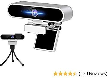 Webcam with Microphone 1080p HD USB Camera 30fps Streaming Webcam with Tripod and Privacy Cover,Plug and Play for Desktop/Laptop/Mac,Video Conferencing/Calling/Gaming and Skype/YouTube/Zoom Etc.