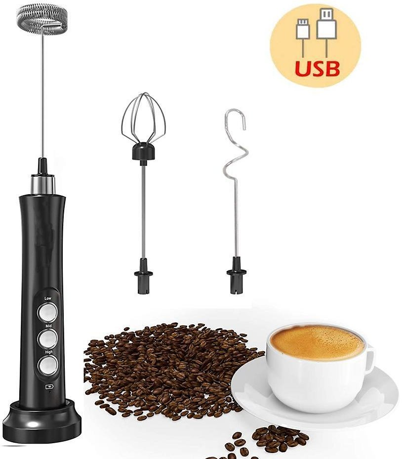 3 in 1 Milk Frother, 3 Speeds Electric Milk Foam Maker Milk Frother Handheld Handled Whisk USB Rechargeable Egg Mixer Beater for