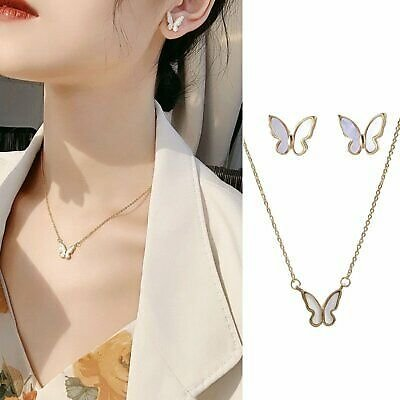 2020 Butterfly Pendant Necklace Earrings Stud Women Choker Women Jewellery Set