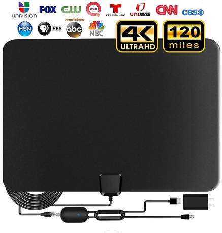 Amplified HD TV Antenna, 2020 Upgraded Digital Indoor HDTV Antenna Up to 120 Mile Range, 4K HD VHF UHF Freeview Television Local