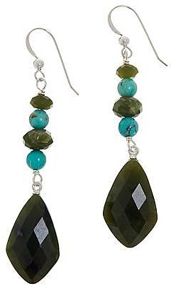 Exclusive! Jay King Sterling Silver Nephrite Jade and Turquoise Drop Earrings