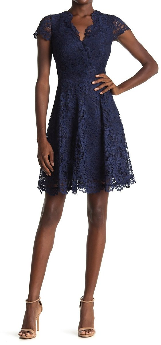 Vince Camuto | Lace Fit & Flare Scalloped Dress | Nordstrom Rack