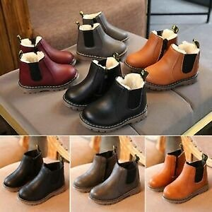 Kids Ankle Boots Boys Girls Winter Warm Snow Boots Chelsea Fur Lined Shoes UK