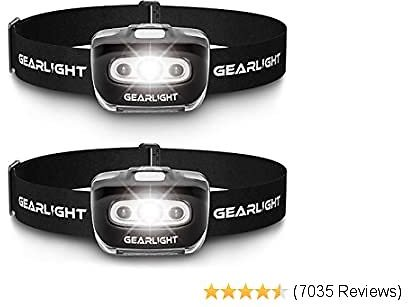 GearLight LED Headlamp Flashlight S500 [2 PACK] - Running, Camping, and Outdoor Headlamps - Best Head Lamp with Red Safety Light for Adults and Kids