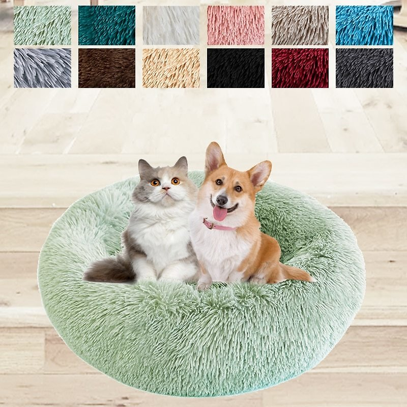 Pet Dog Bed Comfortable Donut Round Dog Kennel For Dogs Soft Washable Dog and Cat Cushion Bed Winter Warm Sofa Hot Sell Cat Bed