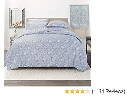 """Nestl Bedding Duvet Cover 5 Piece Set – Ultra Soft Double Brushed Microfiber Bedding – Paisley Design Comforter Cover, 2 Pillow Sham and 2 Pillowcases - King/Cal King 104"""" X 90"""" - Blue"""