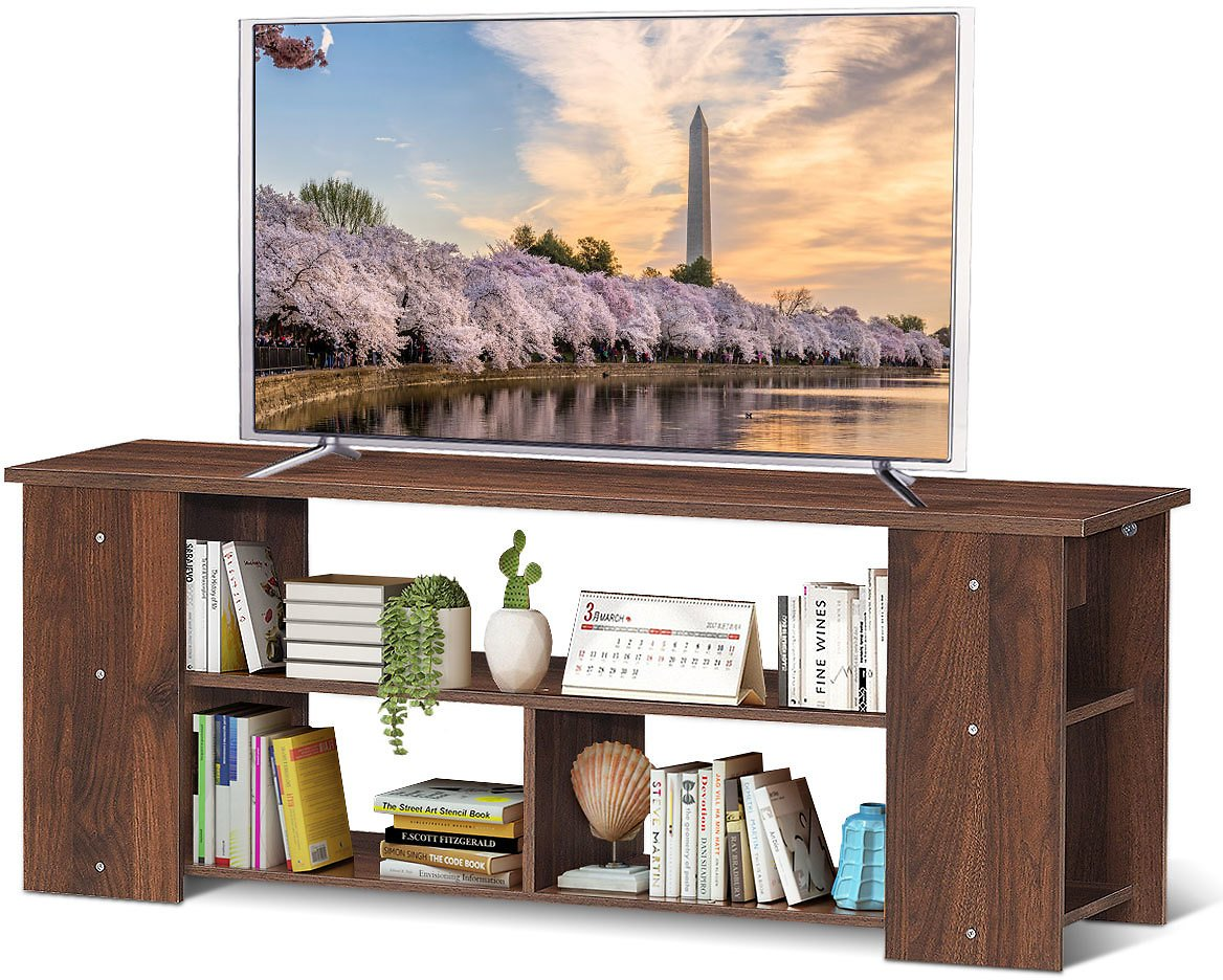 Wood TV Stand Media Game Console Storage Cabinet Entertainment Center