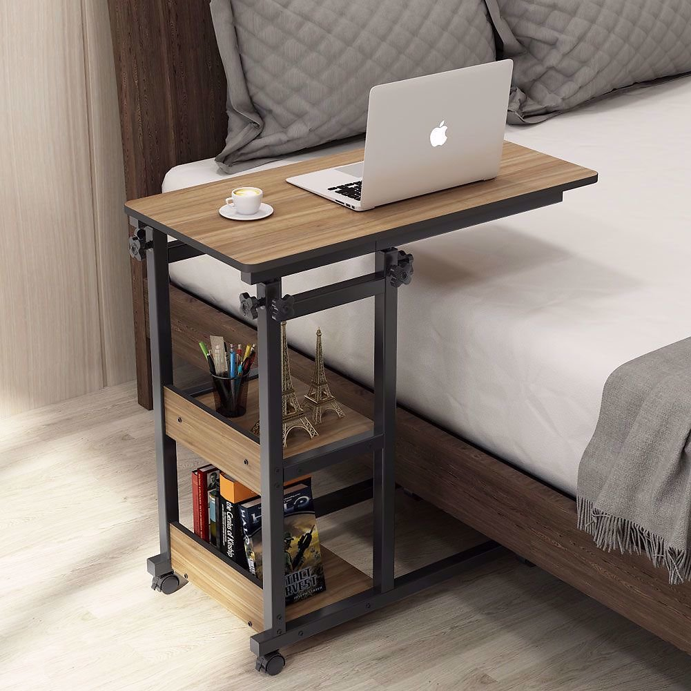 Tribesigns Snack Side Table, Mobile End Table Height Adjustable Bedside Table Laptop Rolling Cart C Shaped TV Tray with Storage