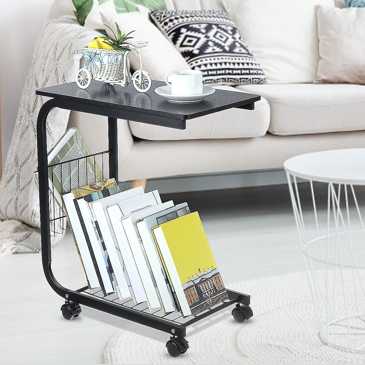 C Shaped End Tables Storage Rack Bedside Table with Lockable Casters Storage Saving Space Snack Tray Table Black/White