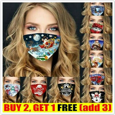 Christmas Print Face Mask Protective Covering Party Mouth Mask Washable Reusable