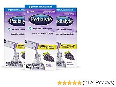 Pedialyte Electrolyte Powder, Grape, Electrolyte Hydration Drink, 0.6 Ounce Powder Packs, 3.6 Ounce (Pack of 3)