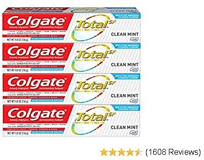 Colgate Total Toothpaste with Whitening, Multi Benefit Fluoride Toothpaste with Sensitivity Relief and Cavity Protection, Clean Mint - 4.8 Ounce (4 Pack)
