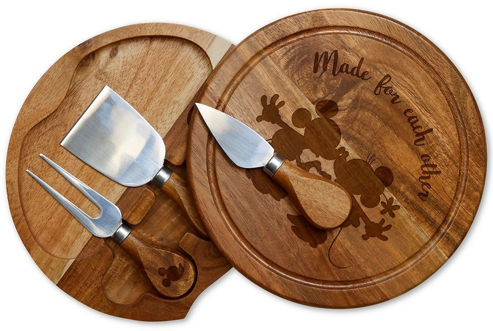 Mickey and Minnie Mouse Acacia Brie Cheese Board & Tools Set