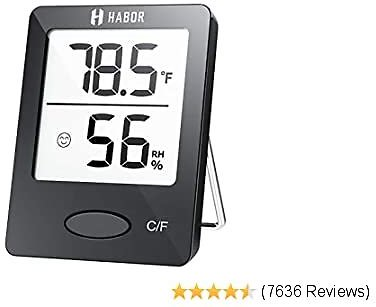 Habor Hygrometer Indoor Thermometer, Humidity Gauge Room Thermometer Indoor, Accurate Mini Wall Digital Hygrometer Temperature Humidity Monitor Meter for Home, Office, Greenhouse