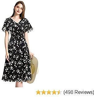 Gardenwed Floral Chiffon Dresses for Women Flowy Homecoming Cocktail Dress Casual Beach Sun Dress