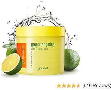Goodal Green Tangerine Vitamin C Toner Pads with '5-IN-1' Effect   Exfoliates, Tones, Brightens, Moisturizes, and Clears Sensitive Skin (70 PADS)