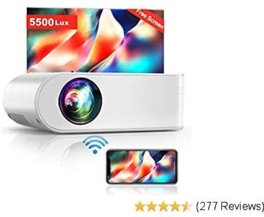 Projector, YABER V2 WiFi Mini Projector 5500 Lux [Projector Screen Included] Full HD 1080P and 200