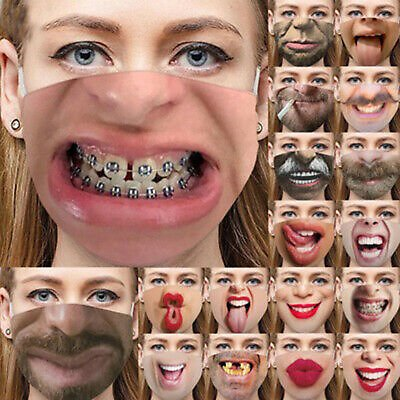 3D Printed Funny Face Mask Breathable Washable Mouth Protection Reusable Unisex