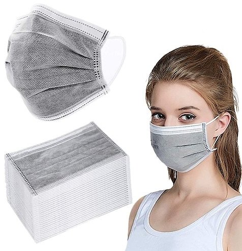 4-layer Protective Disposable Masks Activated Carbon 4 Ply Dustproof PM2.5 Face Mask Anti Particulate 50PCS