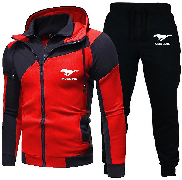 Ford Mustang Hoodie Set Fashion Double Zipper Hoodie Mens Tracksuit Sports Wear Pullover Sweatershirt Suits/Sets Hoodies+Pants