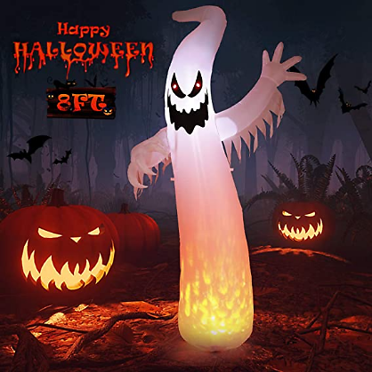 30%   OFF ON: Halloween Decorations Inflatables Outdoor 8FT Halloween Inflatable Ghost with LED Lights BY Using Code
